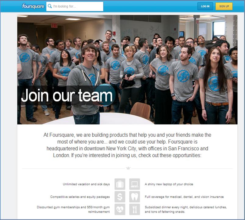 אתר הקריירה של foursquare - מזמין אתכם להצטרף - לא רק משרות