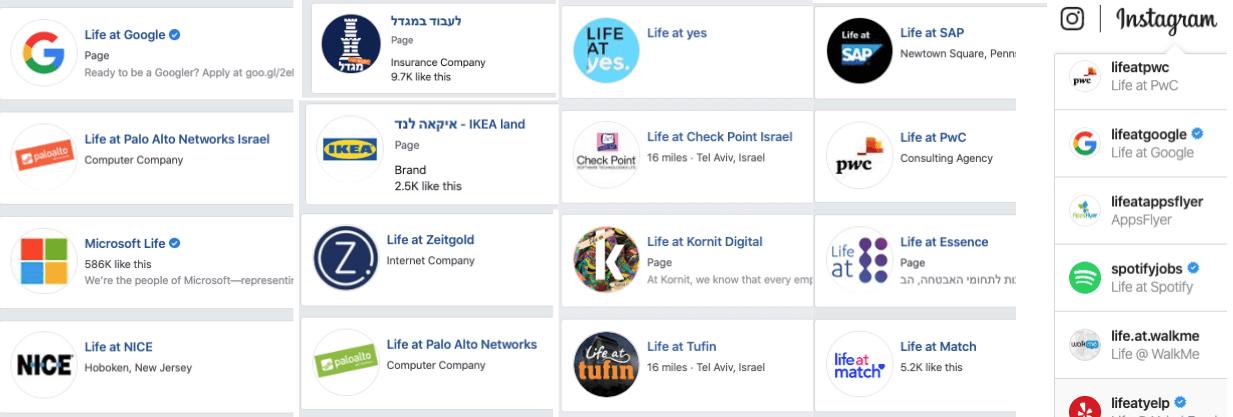 עמודי חברות בפייסבוק ואינסטגרם